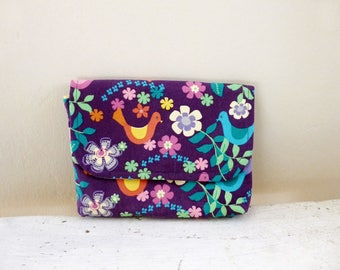 Fabric Wallet, women's wallet, women's gift idea, snap closure, ready to ship, purple wallet, floral print, cute accessory