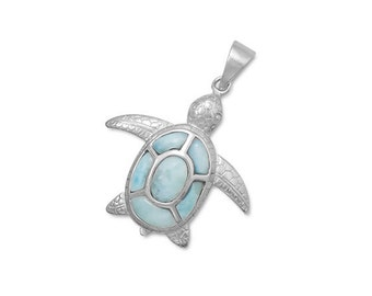 Larimar Turtle Pendant in 925 Sterling Silver