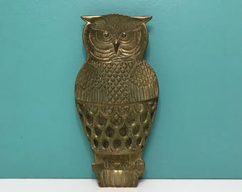 Vintage LARGE Brass Owl Wall Planter, Brass Owl Wall Letter Holder