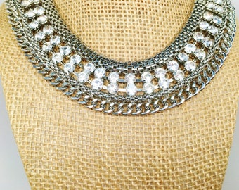 Vintage Large Rhinestone Collar Necklace Choker Bright Sparkle Box Chain Pronged Valentine Day Gift Something Old Bride Runway Statement