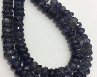 Natural Iolite Faceted Rondelle Beads, 8mm to 9mm, 8 inches, Blue Beads, Gemstone Beads, Semiprecious Stone Beads