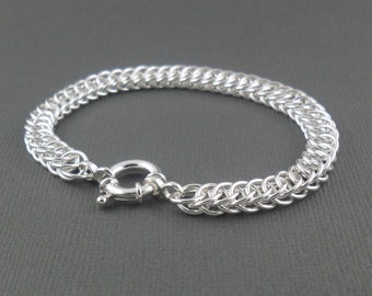 Chunky Sterling Silver Chainmaille Bracelet Half Persian 4in1 Handmade Jewellery