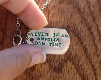 "Peter Pan ""Never Is An Awfully Long Time"" - Metal stamped literary quote necklace - JM Barrie"