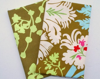 FQ Set Amy Butler Belle - Coriander in Olive Green  and Acanthus in Olive -  Rowan  Westminster Fabrics - PWAB112, PWAB109 - Fat Quarter