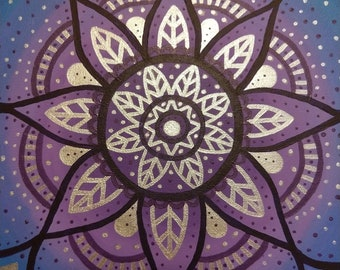Cool Mandala - Blue, Purple, Silver Mandala Painting