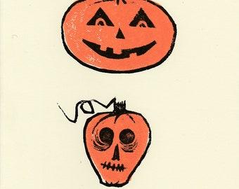 Jack-O-Lantern Cards, Halloween Card 6 Pack