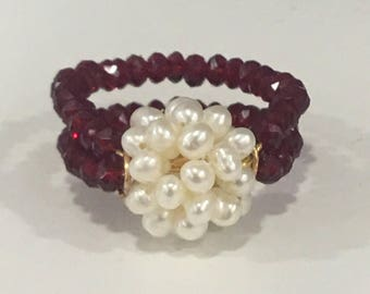 Pearl Ring - Ruby crystals