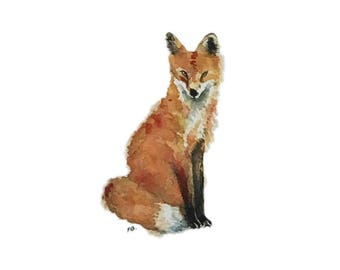 Fox blank greeting card reproduction of my original watercolor and ink illustration drawing of the red fox woodland animal forest wildlife