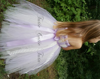 Vintage Inspired Lavender and Ivory Flower Girl Dress Tutu Dress