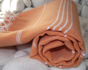 Best Quality Hand- woven Turkish Cotton Bath Towel or Sarong-Orange and White Stripes