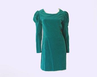 Mod Mint Green Velvet Puff Sleeve Mini Sheath Dress w/ Petite Lace Trim