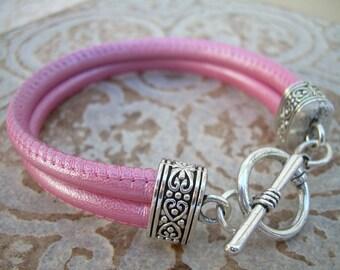 Double Strand Nappa Leather Bracelet, Metallic Pink,  , Womens Jewelry, Womens Bracelet, Womens Gift
