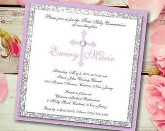 Communion Invitation Girl Communion Purple Invitation with Silver Glitter