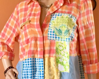 Serendipity Hippie Chic Festival Wear Boho Junk Gypsy Upcycled Art Wear Shirt Size XL