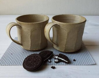 Ceramic Mug, Ceramic Cup, Herbal Tea Cup, Beige Mug, SET OF TWO Mugs, Pottery Mug, Ceramic Coffee Mug, Ceramic Coffee Cup, Beige Coffee Mug