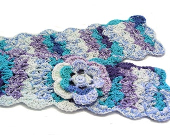 Turquoise, Lavender and Blue Crochet Scarflette with Flower, Buttoned Scarflette, Buttoned Neck Warmer, SC130-01