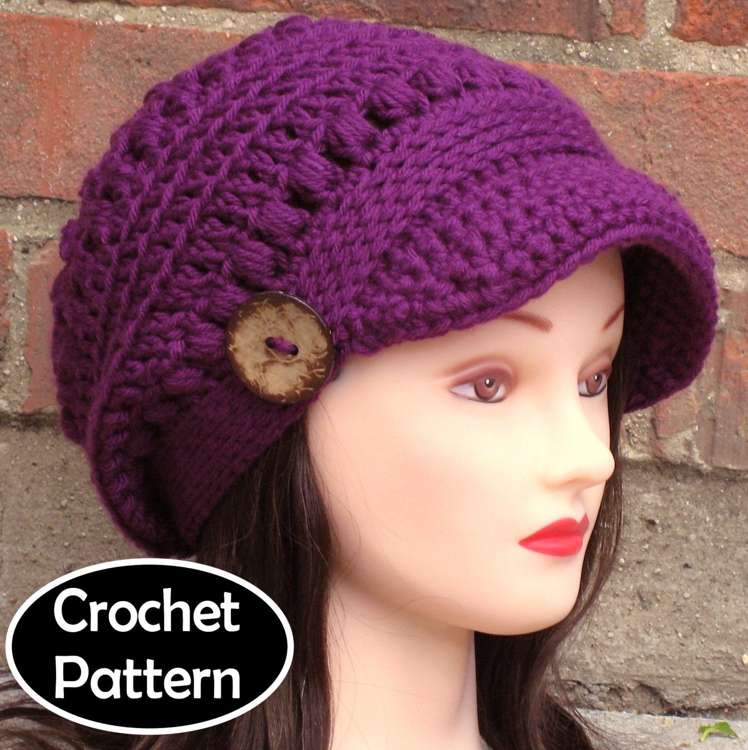 Crochet hat pattern instant download pdf brooklyn newsboy zoom bankloansurffo Gallery