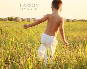 Boys or Girls White Cotton Lounge Pant - Drawstring Waist  Sizes 2-8