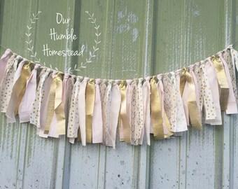Pink and Gold Polka Dot Fabric Banner, Bridal Shower, Princess Party, Birthday Banner, Garland, Pink and Gold, Polka Dots