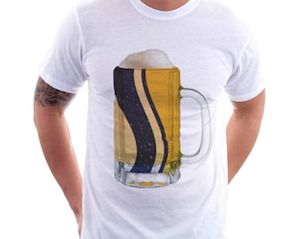 South Bend, IN City Flag Beer Mug Tee, Unisex, Home Tee, City Pride, City Flag, Beer Tee, Beer T-Shirt, Beer Thinkers, Beer Lovers Tee