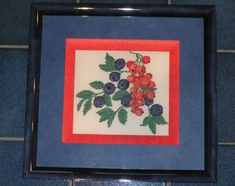 Painting blue and red berries