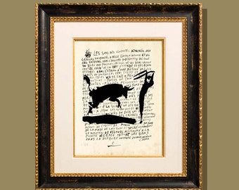 """Bull Fighter - Picasso"""" 8.5""""x11"""", printed on a letter written by Picasso, Modern Art, Giclee print, Fine Art Print, Picasso sketch print,"""