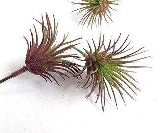 Miniature artificial air plant, faux air plant, tillandsia plant, small air plant, fake tillandsia, burgundy, miniature tillandsia