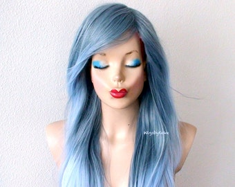 Pastel wig. Lace front wig. Ombre wig. Blue Gray / Sky blue Ombre wig. Long soft layers hairstyle wig for daily use or Cosplay..