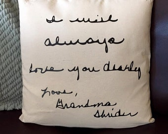 Custom Handwriting Keepsake Pillow Cover Only - Personalized Gift - Gift for Mom - Christmas gift -  Memorial Gift - In Memory Of