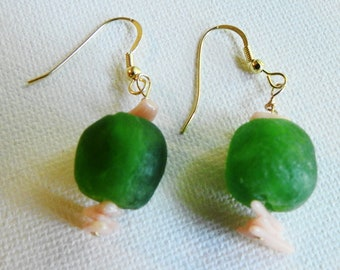 Glass Earrings, Seaglass Look Drops, Vintage Trade Bead Dangles, Ghana Glass Beads, African Trade Beads, Ethnic Gift, Unique