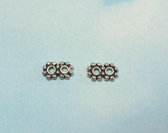 Spacer Beads Sterling Silver 4mm, 2-Strand. Package of 4