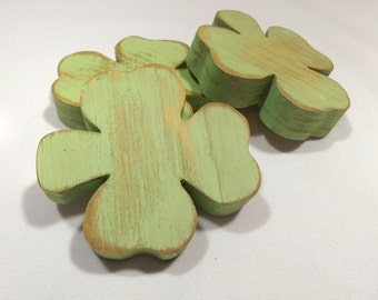 Wooden Shamrocks, Distressed  Wood Shamrocks, St Patricks Day Decor, Irish Clovers for St Paddys Day, Primitive Shamrocks