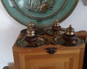 Vintage Brass and Wood Incense Burners on Brass Plates