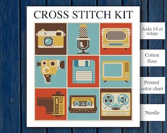 Retro-media collage - cross stitch kit   Retro thing cross stitch   Camera cross stitch   Old school cross stitch   retro TV cross stitch  