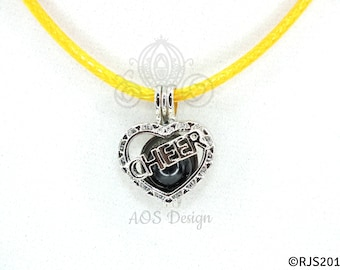 Pick A Pearl Cage Silver Plated Cheer Heart Love Charm Locket Cheerleader on YELLOW CORD