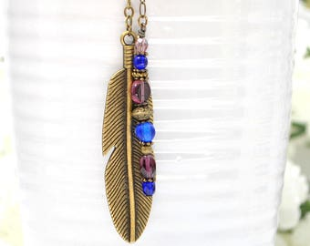 Feather Hair Beads Boho Hair Charm Feather Hair Clip Gypsy Hair Dangle Bohemian Hair Clip Purple Blue Hair Dangle Snap Barrette