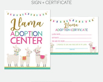Llama Adoption Center, Adopt a Llama, Pet Adoption Birthday Party, Adoption Certificate & Sign, Printable files, DIGITAL, Instant Download