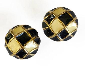 Black and White Enamel Domed Earrings