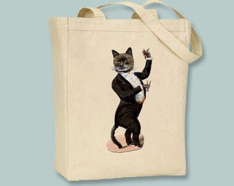 Victorian Cat in Tuxedo illustration on Canvas Tote -- Selection of sizes available