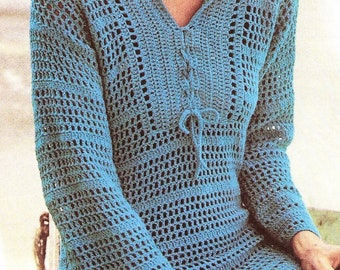 Crochet Hoodie Pullover Tunic  PATTERN, Crochet Top Pattern, Beach Cover-up, Womens Hoodie Top Filet Crochet Mesh Pullover, Digital Download