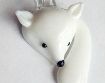 ONE White Glass Lampwork Fox Jewelry Supply Pendant Snow Fox Charm