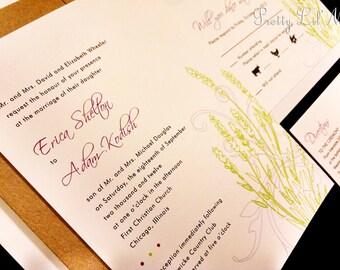 Elegant Floral Outdoor Flourish Spring Summer Fall Winter Lined Custom Wedding Invitation Set - Lovely Lavender Design
