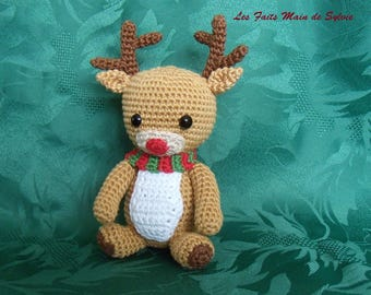 Rudy the reindeer red crochet cotton