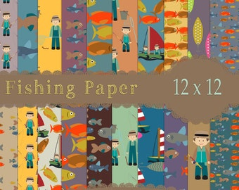 Fishing Papers, Fathers Day Papers, River papers, Fish Papers, Hobby Papers, Digital Download , Instant Download, scrapbook paper