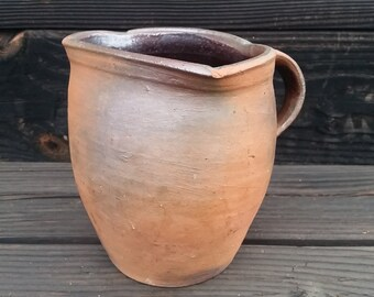 19th Century American Redware Utilitarian Handled Pot - Kiln Defect