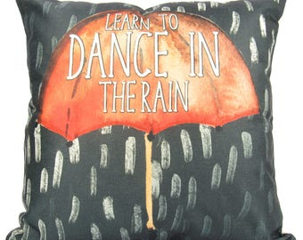 Learn to Dance in the Rain | Pillow Cover | Dance in the Rain | Throw Pillow | 18 x 18 | Home Decor | Modern Black Pillows | Minimalist