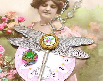 Dragonfly, 1800s BUTTON necklace, Edwardian enamel watch face with flowers on sterling chain. Antique button jewellery.