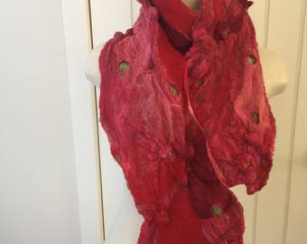 superfine merino wool and tussah silk ' berry burst ' scarf