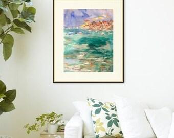 Brises de la mer égéennes et côtière de la mer Méditerranée, avec des bateaux à voiles, bord de la mer et bleu vert d'eau, par Russ Potak