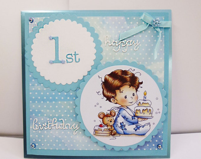 Baby's First Birthday Card, One Today, Baby Card, Boys 1st Birthday, Happy Birthday Card, Baby Boy Card